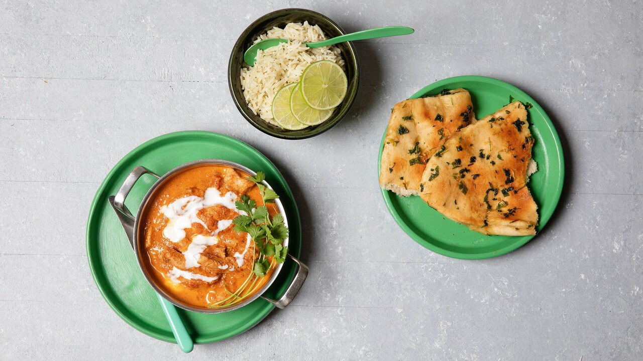 Butter chicken ja naanleipää